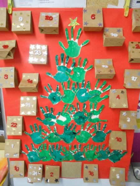 Calendrier de l'Avent et décor de Noël en maternelle