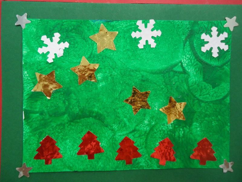 Chocolats et carte de Noël en maternelle
